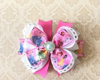 Disney Bows- Disney Princess Headband- Little Mermaid Bow- Cinderella Bow- Jasmine Bow- Snow White Bow- Belle Bow- Princess and the Frog Bow