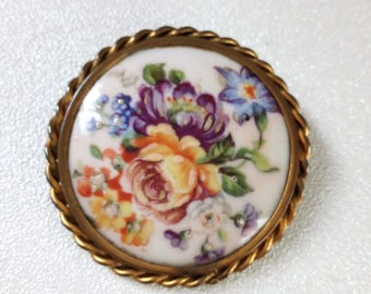 Vintage french Limoges porcelaine brooch