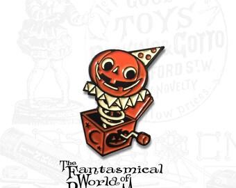 Jack-In-The-Box Halloween Enamel Pin by Rhode Montijo
