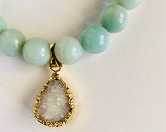 Aqua Bracelet - Beaded Druze Bracelet - Stacking Bracelet - Bridal Gift - Birthday Gift - Layering Bracelet - Spring Jewelry