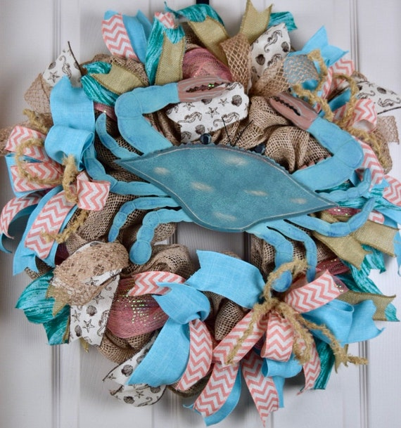 Blue Crab Beach Burlap and Mesh Wreath; Nautical Beach Shore Decor Wreath; Summer Decor Wreath; Beach House Decor; Blue Crab Door Decor