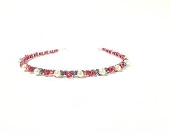 Headband, hair accessory, headbands, hair accessories, blue, pink, beaded, birthday gift, women, gift for her, tiara, pearl, wedding, bridal