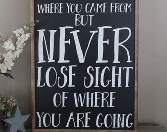 Don't Forget Where You Came From But Never Lose Sight of Where You Are Going Framed Wood Sign, Inspirational, Wood Sign Saying Farmhouse