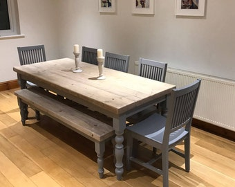 Farmhouse Dining Table With Reclaimed Wood Top And Matching Bench, Made To  Measure Custom,