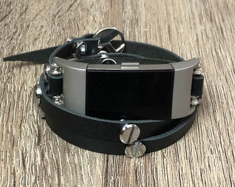 Black Leather Multi Wrap Bracelet for Fitbit Charge 2 Fitness Activity Tracker Luxury Handmade Fitbit Charge 2 Band Silver Multi Rivets