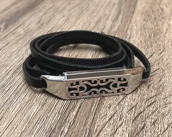 Luxury Genuine Black Leather Bracelet for Fitbit Flex 2 Tracker Handmade Adjustable Fitbit Flex 2 Band Elegant Fitbit Flex 2 Jewelry
