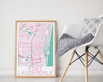 Fort Lauderdale Map / For Lauderdale Poster / Fort Lauderdale / Florida Map Print / Fort Lauderdale Florida  / Wall Art