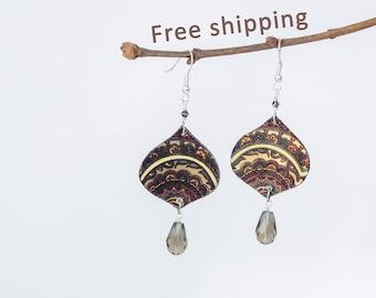 Arabic earrings, Abstract earrings, Clay brown earrings, Ornament earrings, Brown dangle earrings, Clay earrings, Picture earings
