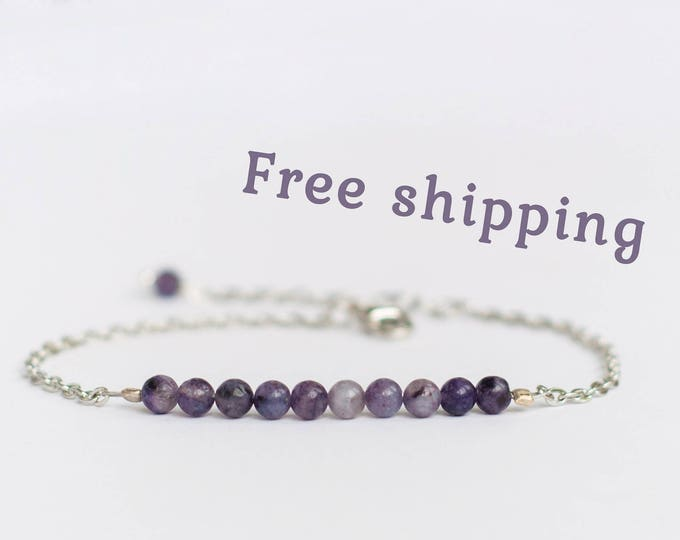 Natural charoite bracelet, Beauty gift, Charoite jewelry, Natural beads bracelet, Small purple bracelet, Ball chain bracelet, FREE SHIPPING