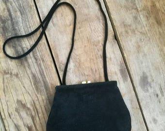 Vintage 1980s GIANI BERNINI black suede hand bag