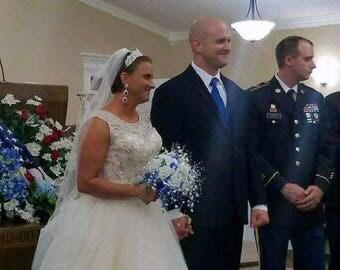 Royal Blue Bride/Maid of Honor/Bridesmaid Cascading Wedding Bouquet