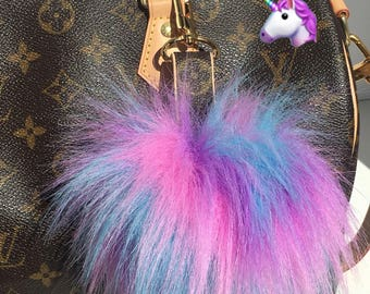 Louis Vuitton Bag Charm Pom Pom made with Authentic Upcycled Louis Vuitton Canvas UNICORN POM POM