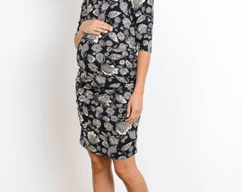 Hello Miz Off The Shoulder Leaf Print Maternity Dress