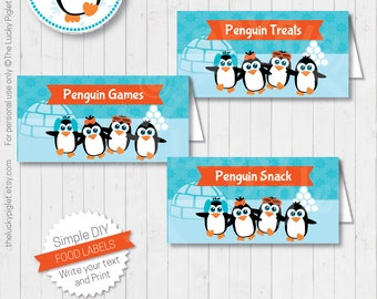 PENGUIN PARTY Labels, Penguin Toppers, Penguin Name Cards, Penguin Party Printable - Instant Download, Edit Text in Adobe Reader