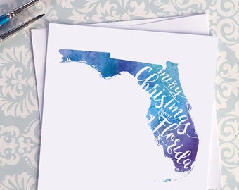 Florida Map Christmas Card, Florida Watercolor Greeting Card, Merry Christmas from Florida Lettering, Gift, Postcard, Map Art Card or Print