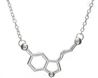 Serotonin Molecule Necklace | high quality Silver-Tone Alloy | Anhänger Halskette Chain Chemistry Medicine Biology | by Serebra Jewelry