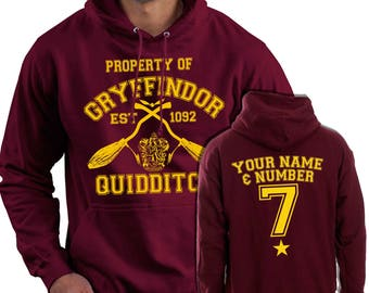 Property Of Gryffindor Custom Printed Hoodie - Harry Potter Inspired Quidditch Hooded Jumper