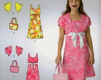 FREE US SHIP Sewing Pattern  Simplicity 2669 Easy Out of Print Girls Matching Dress Purse tote bag Bolero Jacket  Size 8/16  Uncut New
