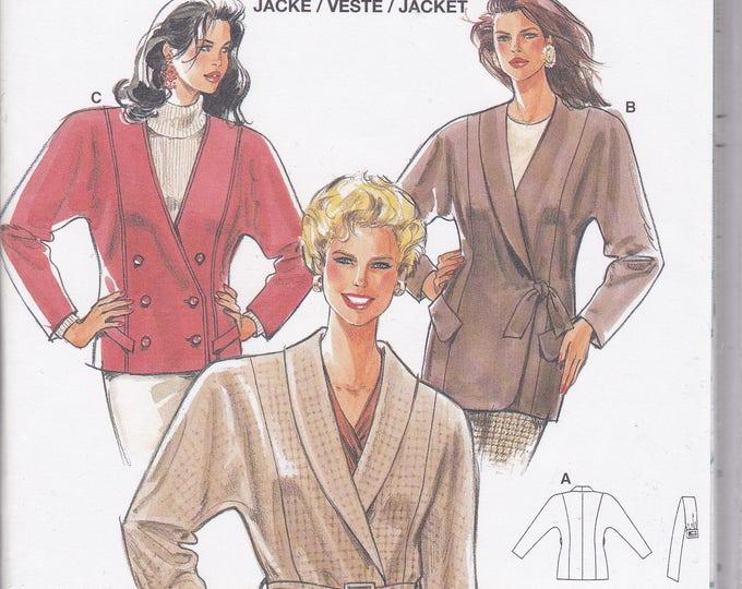 FREE US SHIP Burda 4118 Retro 1990s 90's  Jacket Wrap Tie Blouse  Size 10 12 14 16 18 20 Uncut Bust 32 34 36 38 40 42 Sewing Pattern