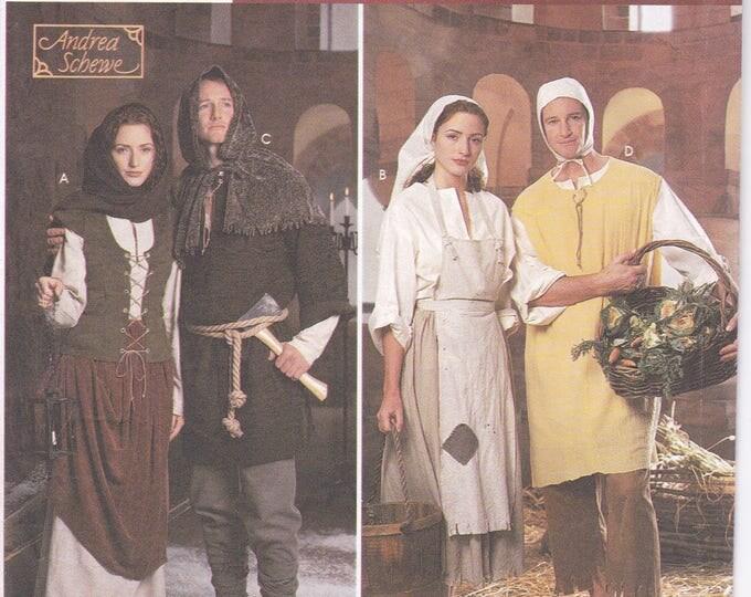 FREE US SHIP Simplicity 8587 Sewing Pattern Renaissance Medieval Costume Men Miss Dress Tunic Hood Cape Leg Wraps Uncut Size xs-xl New Uncut