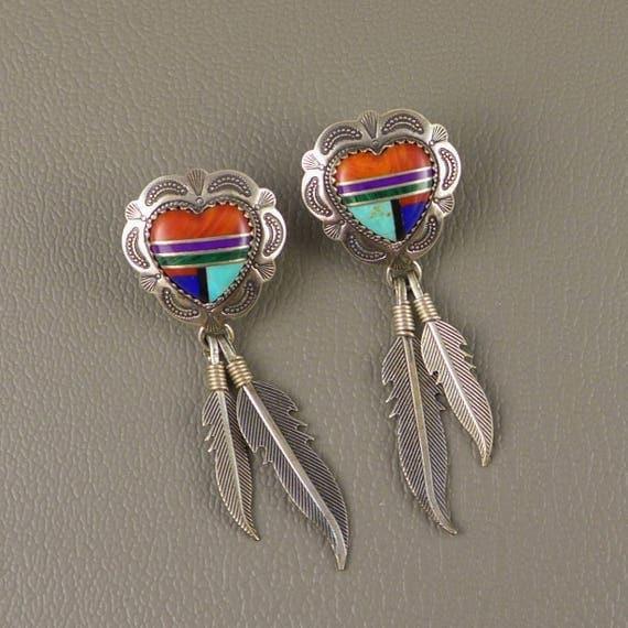 zuni sterling silver inlay earrings vintage southwest