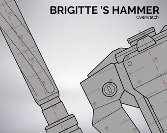 Overwatch Brigitte Lindholm hammer blueprint 1:1 scale