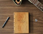 Music Composition Book - Wood Covered Composition Book - Music Stave Paper - Gift for Musician - Gifts for Composer - Personalized