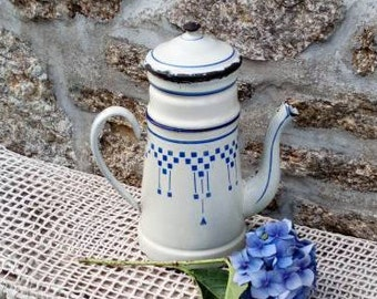 French Enamel Coffee Pot, Vintage Enamelware, White and Blue Coffee Kettle, Shabby French
