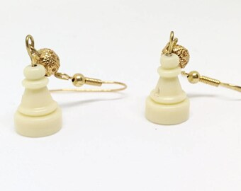 Chess Pawn and Gold Plated Earrings