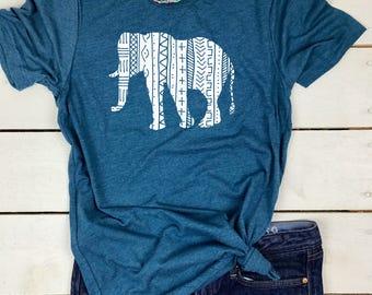 Elephant T-Shirt - Elephant Print T Shirt - Elephant Shirts for Women - Aztec Elephant Tee - Boho Elephant Shirt for Women - Tribal Elephant