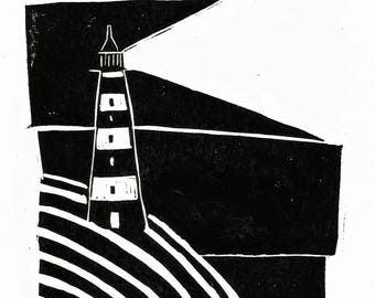 Small Lino Cut Lighthouse