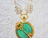 Pocket watch Necklace Gold colors with Holografischem Mandala and key-UV resin charm Bezel