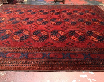 10x12 Antique Afghan Ersari Rug Authentic Tribal c.1900