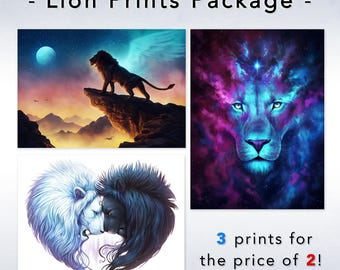3 Prints for the Price of 2 - Lion Prints Package