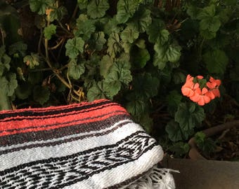 Coral Pink Striped Mexican Blanket with Tassels