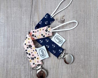 ANCHOR blue pacifier / pink FLOWERS