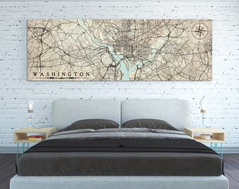 WASHINGTON D.C. Canvas print Columbia Vintage map Washington Dc Vintage City map Horizontal Large Wall Art Panoramic poster antique old map