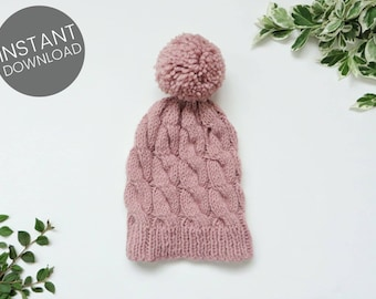 KNITTING PATTERN // Cable Hat Pattern | Beginner Knit Pattern | One Size Fits All