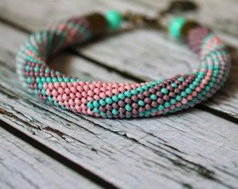 Mint green pink crochet beaded bracelet beaded jewelry spiral rope seed bead bracelet geometric pattern purple rope beadwork beaded bracelet