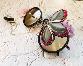 Gray flower brooch beading brooch beadwork beadweaving seed bead jewelry beaded brooch seed beaded rivoli