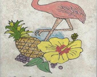 Flamingo Welcome #006 Hand Painted Kiln Fired Decorative Ceramic Wall Art Tile 8  x 12