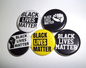"Black Lives Matter Power Fist Rights Movement Pin Back Buttons (5 Styles to Choose From) 1.25"" and 2.25"""
