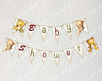 Bunting banner, download, printable, hand painted teddybear, baby shower