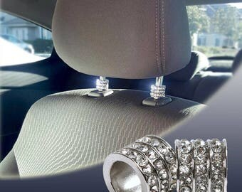 Icy Crystal Car Seat Headrest Collar Charms, Rhinestone Interior Car Accessory, Car Seat Decoration Accessories For Women, Bling Car Charms