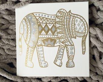 Bohemian Elephant: Hand-painted Canvas Sign