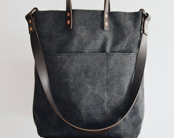 Shoulder wax  Canvas Tote Bag. waxed Canvas and leather bag. Alaskan belt Leather Handles. Copper Rivets. Made in Singapore