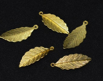 6 Pcs Leaf Charms Leaf Pendants Gold Plated Gold Tone Charms 31x13mm - G19