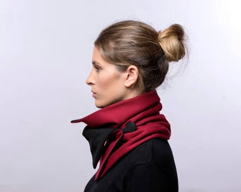 Red and Black Jersey Neck Warmer, Cowl, Collar Scarf, Shawl With Button, Infinity Scarf, Gift for her, Wrap shawl, Gift Idea, Valentines