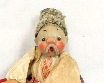 Vintage Mockobckar Doll, USSR Molded Plastic Cloth Doll, Russian Doll, Traditional Russian Doll, Mockobckar Doll