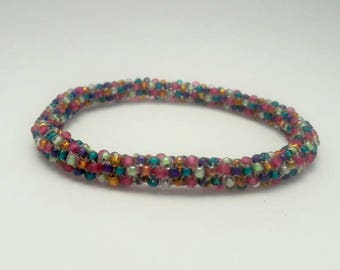 Multicolor Beaded Bangle Bracelet